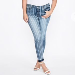 NWT Express Mid Rise Stretch Striped Ankle Jeans